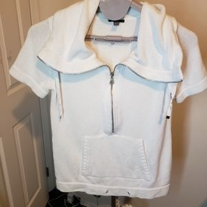Jacob cowl zip neck sweater white size med